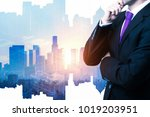 thoughtful businessman on... | Shutterstock . vector #1019203951