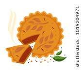 meat pie  roll  quiche vector... | Shutterstock .eps vector #1019204971