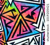 rainbow geometric seamless...   Shutterstock .eps vector #1019205421