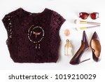 fashion flat lay scene. hight... | Shutterstock . vector #1019210029