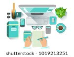 office worplace with utilities... | Shutterstock .eps vector #1019213251