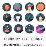 flat vector icon set ufo venus... | Shutterstock .eps vector #1019214979