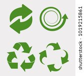 green recycle set. vectot icon... | Shutterstock .eps vector #1019215861