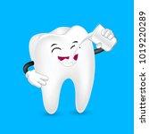 cute cartoon tooth character... | Shutterstock .eps vector #1019220289