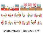 people in sweet pastry cafe set ... | Shutterstock .eps vector #1019223475