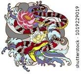 japanese snake tattoo.the snake ... | Shutterstock .eps vector #1019229019