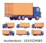 euro truck  metal container.... | Shutterstock .eps vector #1019229085
