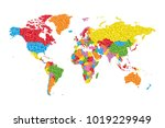 low poly world map with... | Shutterstock .eps vector #1019229949