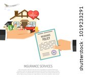 insurance services concept with ... | Shutterstock .eps vector #1019233291