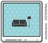 sofa and floor lamp flat vector ... | Shutterstock .eps vector #1019234461