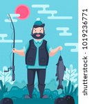fisherman character holding a... | Shutterstock .eps vector #1019236771