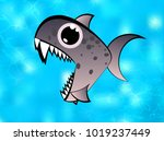 a colorful cartoon piranha fish.... | Shutterstock .eps vector #1019237449