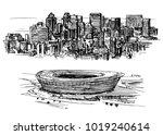 cape town skyline  stadium ... | Shutterstock .eps vector #1019240614
