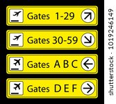 airport signs gates numbers and ... | Shutterstock .eps vector #1019246149