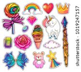 set of magic girlish stickers... | Shutterstock .eps vector #1019247157