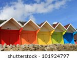 row of colorful beach huts with ... | Shutterstock . vector #101924797