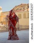 indian woman in red bridal sari ...   Shutterstock . vector #1019255257