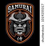 badge of samurai warrior. sport ... | Shutterstock .eps vector #1019255317