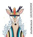 wild animal  boho illustration. ... | Shutterstock .eps vector #1019255959