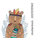 wild animal  boho illustration. ...   Shutterstock .eps vector #1019255965