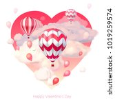 valentine s day 3d vector... | Shutterstock .eps vector #1019259574