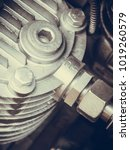 Small photo of Industrial electric auto motor concept. Detailed closeup of cross section in alternator generator machine engine