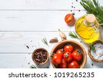 food background on white wooden ... | Shutterstock . vector #1019265235