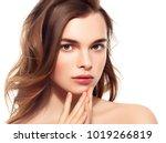 beautiful brunette woman... | Shutterstock . vector #1019266819