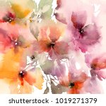 floral background. watercolor... | Shutterstock . vector #1019271379