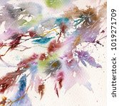 floral background. watercolor... | Shutterstock . vector #1019271709