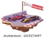 vector low poly racing car in... | Shutterstock .eps vector #1019273497