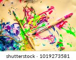 messy paint colorful brushes... | Shutterstock . vector #1019273581
