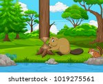 cartoon beaver cutting a tree... | Shutterstock .eps vector #1019275561