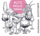 Alcoholic Drinks Poster. Glass...