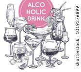 alcoholic drinks poster. glass... | Shutterstock .eps vector #1019276899