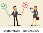 caucasian office worker chooses ... | Shutterstock .eps vector #1019287327