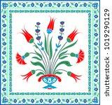 floral tile design  tradirional ... | Shutterstock .eps vector #1019290129