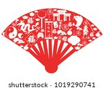 chinese new year fan  | Shutterstock .eps vector #1019290741