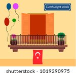 window with turkish flag for... | Shutterstock .eps vector #1019290975