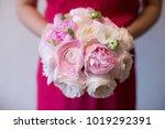 a girl in a pink dress is... | Shutterstock . vector #1019292391