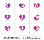 spa and salon logo design set ... | Shutterstock .eps vector #1019292619