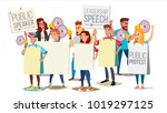 people shouting through... | Shutterstock .eps vector #1019297125