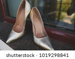 stylish bride wedding shoes on... | Shutterstock . vector #1019298841