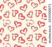 seamless heart pattern hand... | Shutterstock .eps vector #1019300071
