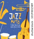 vector music poster. jazzz... | Shutterstock .eps vector #1019301589