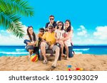 indian asian family enjoying at ... | Shutterstock . vector #1019303029