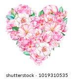 beautiful heart with watercolor ... | Shutterstock . vector #1019310535