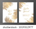 gold wedding invitation with... | Shutterstock .eps vector #1019312977