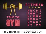 time to gym neon light glowing... | Shutterstock .eps vector #1019316739