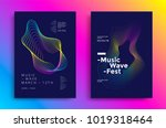 music wave poster design. sound ... | Shutterstock .eps vector #1019318464